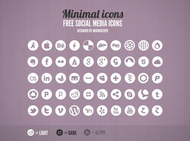 Mínimas gris iconos de redes sociales redondean