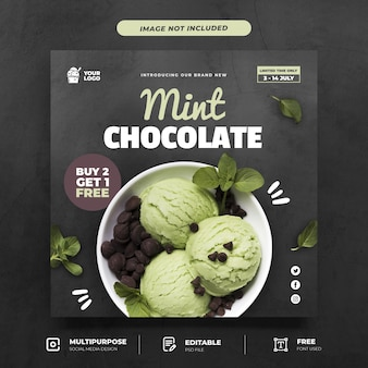 Mint chocolade-ijs menu sociale mediasjabloon