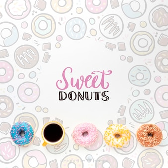 Mix van kleurrijke donuts en koffie met mock-up