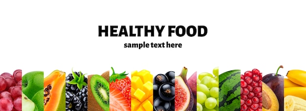 Mix voedselingrediënten, fruit en bessencollectie