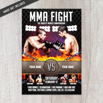 Mma fight flyer-sjabloon
