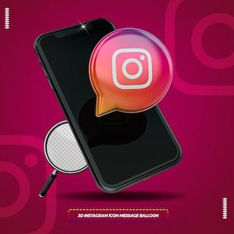 Mobiel met 3d geïsoleerde instagrampictogram Premium Psd