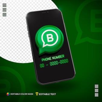 Mobiel met 3d whatsapp bedrijfspictogram dat voor samenstelling wordt geïsoleerd