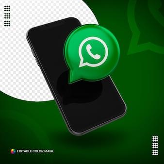 Mobiel met 3d whatsapp-pictogram dat voor samenstelling wordt geïsoleerd