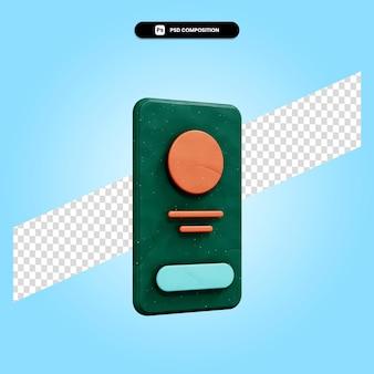 Mobiel profiel 3d render illustratie geïsoleerd