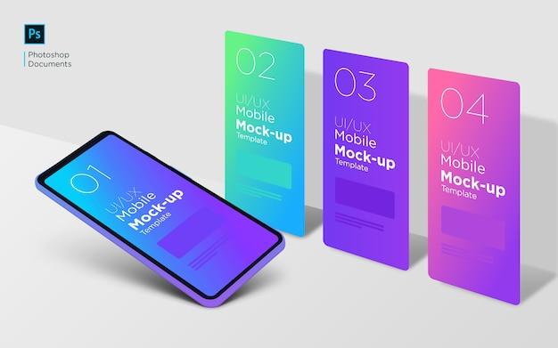 Mobiele 4 verschillende scherm mockup ontwerpsjabloon