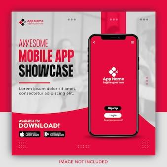 Mobiele app-promotie social media postbannersjabloon