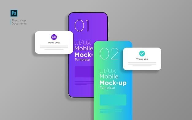 Mobiele app-sleepscherm met pop-up mockup ontwerpsjabloon
