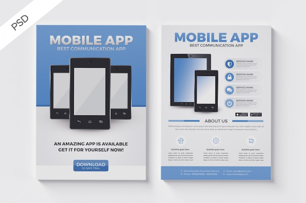 Mobiele apps folder sjabloon, zakelijke brochure folder lay-out