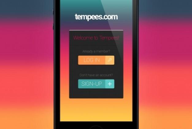 Mobiele login box aan platte ontwerp