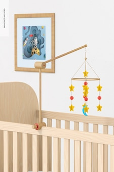 Mobiele mockup voor babybedje, rechts aanzicht