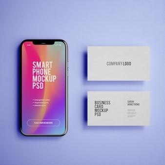 Mobiele telefoon mockup met visitekaartje mockup