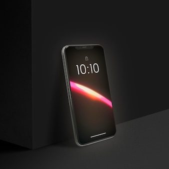 Mobiele telefoon psd-mockup met esthetisch led-licht
