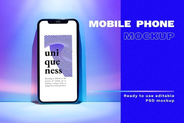 Mobiele telefoon psd-mockup met gradiënt led-licht