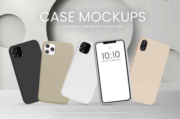 Mobiele telefoonhoesjes set product showcase voor- en achterkant