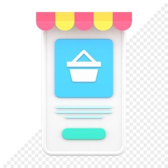 Mobiele winkel 3d-pictogram