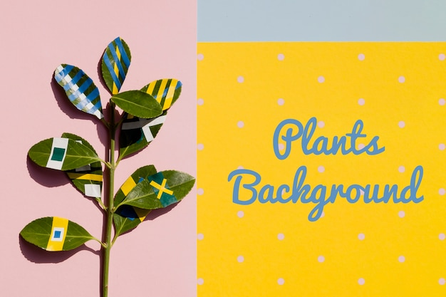 Mock-up artistieke tekening op plant