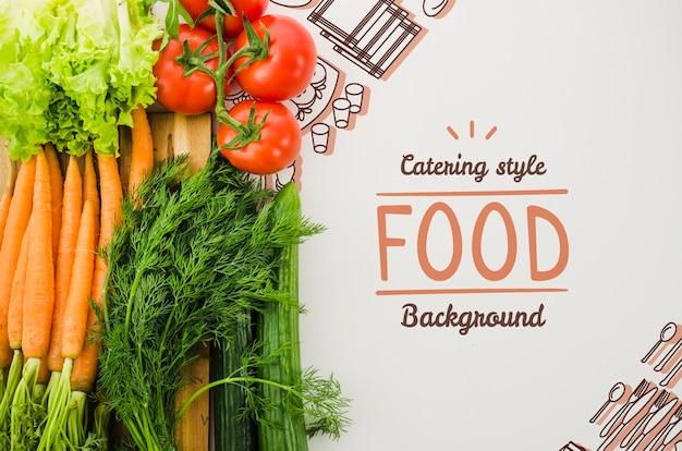 Mock-up assortimento di verdure fresche