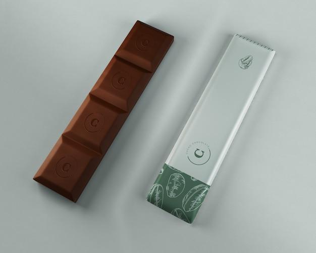 Mock-up avvolgente di cioccolato pulito