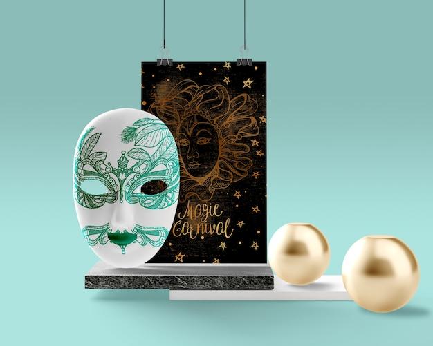Mock-up blauw thematisch masker voor carnaval