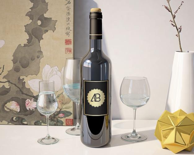 Mock up de botella de vino