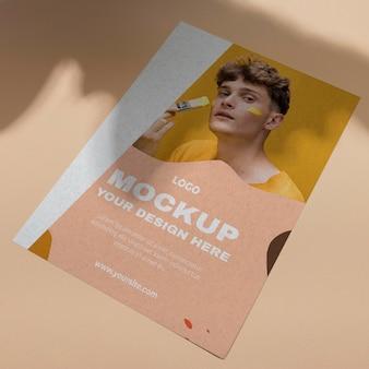 Mock up brochure schaduw overlay bovenaanzicht