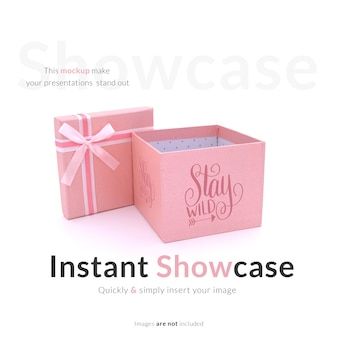 Mock up de caja de regalo rosa