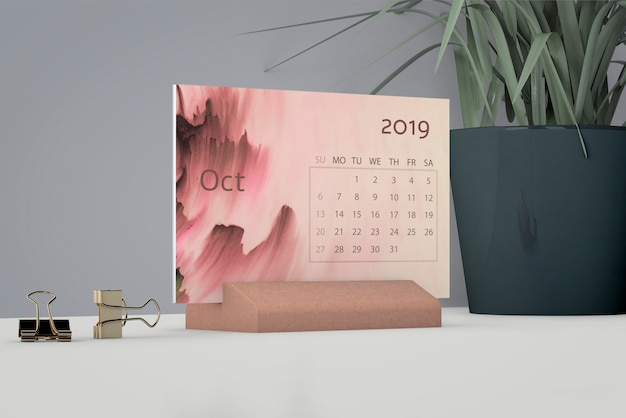 Mock up de calendario de acuarela