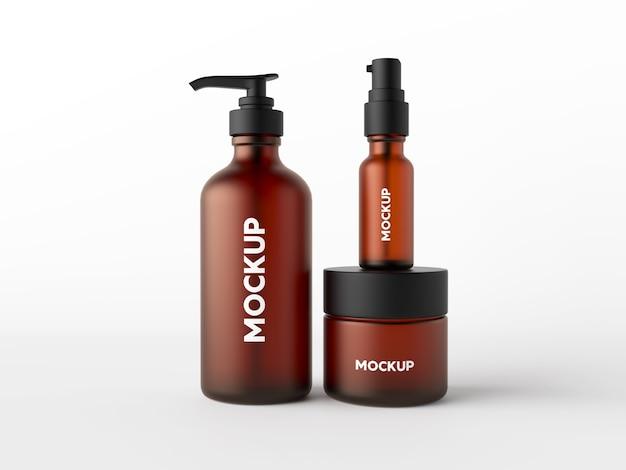 Mock up con diseño de cosméticos sobre fondo blanco