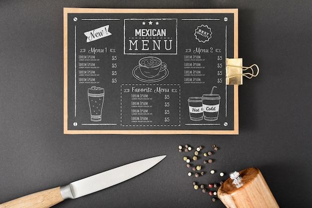 Mock-up concept van het voedselmenu