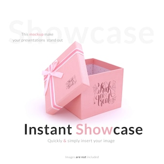 Mock up de caja de regalo rosa