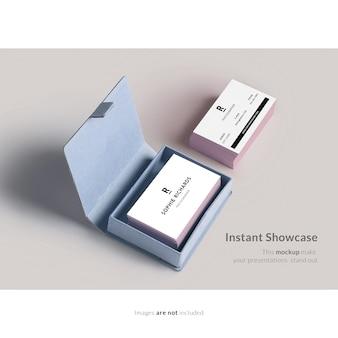 Mock up de tarjeta de negocios con caja