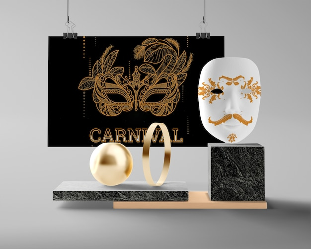 Mock-up decoraties voorbereid voor carnaval