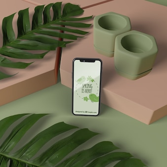 Mock-up decorazioni 3d con cellulare sul tavolo