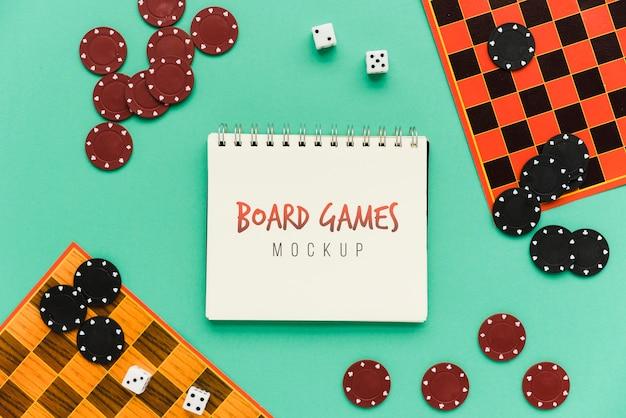 Mock-up del concetto di giochi da tavolo