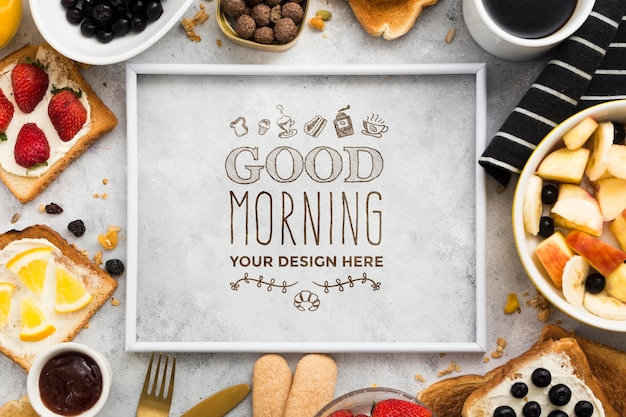 Mock-up delizioso concetto di colazione