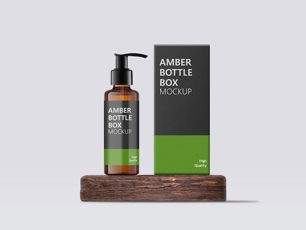 Mock-up della bottiglia e del contenitore della pompa dell'erogatore color ambra