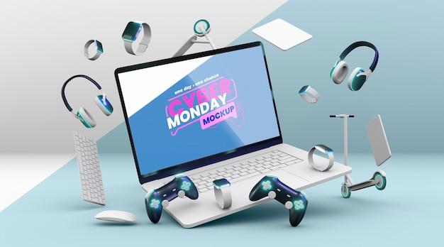 Mock-up della composizione di vendita di cyber lunedì