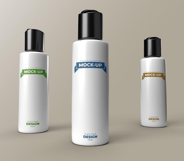 Mock-up di bottiglie rotonde cilindriche flip top