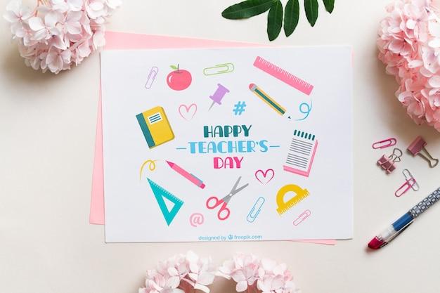 Mock-up di carte del giorno dell'insegnante felice