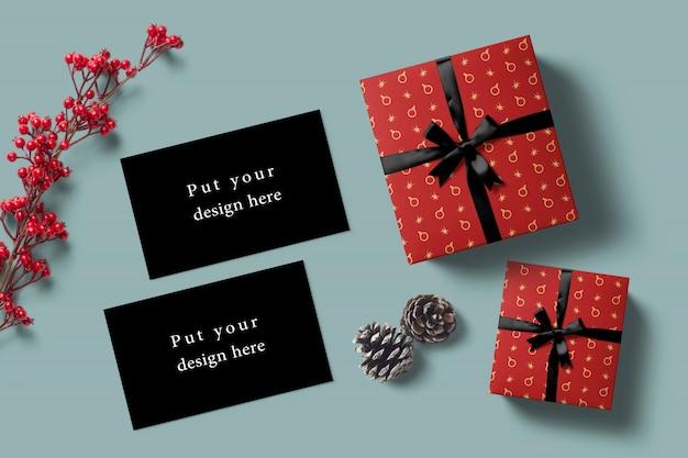 Mock-up di carte festa con regali