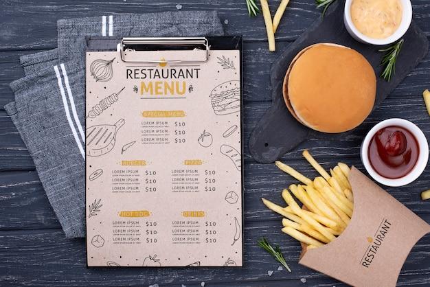 Mock-up di concetto del menu degli alimenti a rapida preparazione