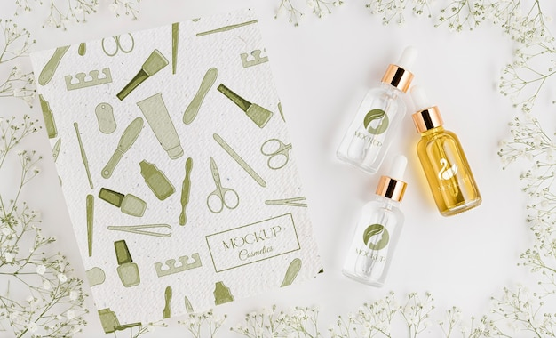 Mock-up di concetto di cosmetici naturali