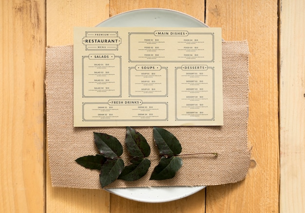 Mock-up di concetto di menu di cibo