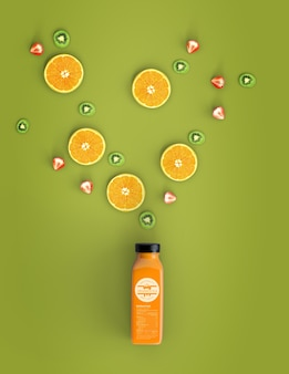 Mock-up di frullato arancione vista dall'alto