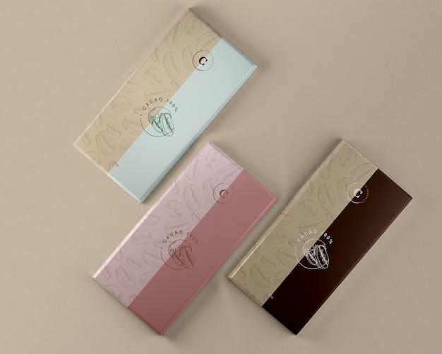 Mock-up di imballaggi di carta in compresse di cioccolato