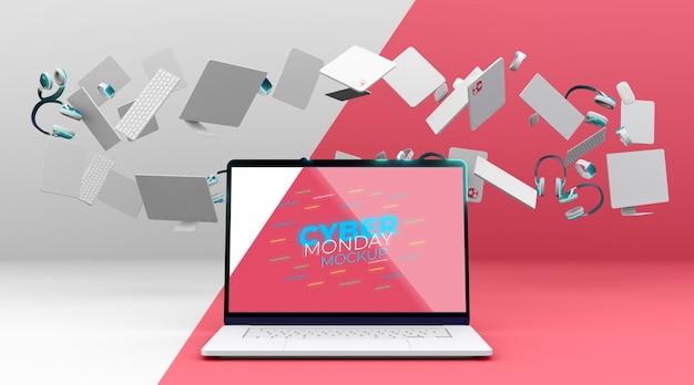 Mock-up di vendita di laptop cyber lunedì con disposizione dei dispositivi