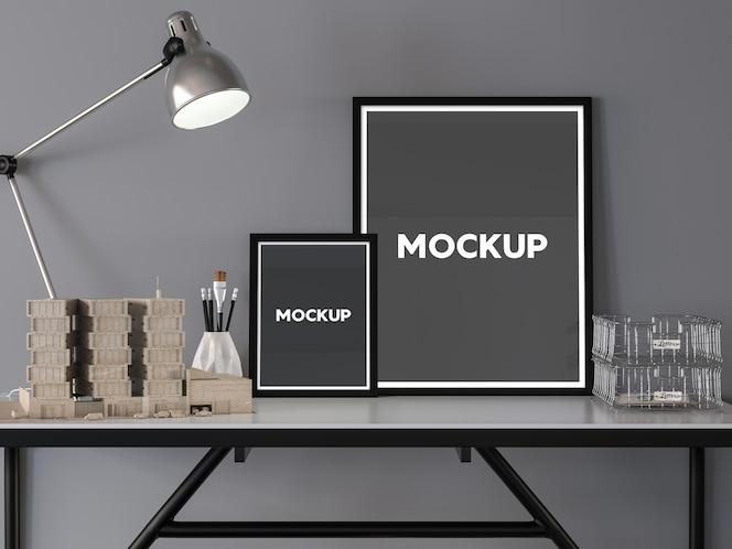 Mock up con diseño de dos marcos sobre un escritorio