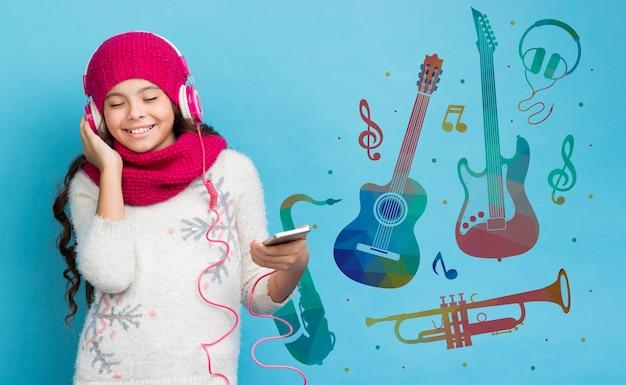 Mock-up dispositivo elettronico sulle vendite in inverno