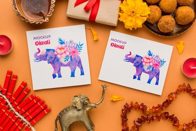 Mock-up diwali festival indù vari elefanti